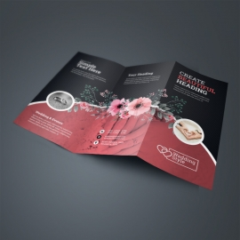 Wedding & Events TriFold Brochure With Flower Red Accent