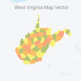 West Virginia Map Colorful Vector Design