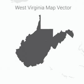West Virginia Map Dark Vector Design