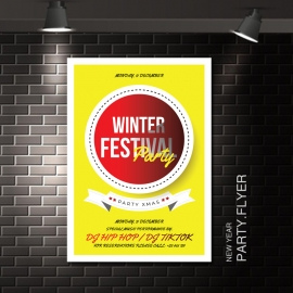 Winter Festival Flyer With Yellow Accent