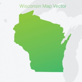 Wisconsin Map By Gradient Color Vector Design
