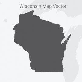Wisconsin Map Dark Vector Design
