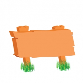 Wooden Signboard with Grass