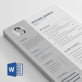 Word Resume Minimal Design Concept