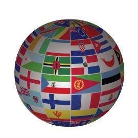 World Globe by Flag