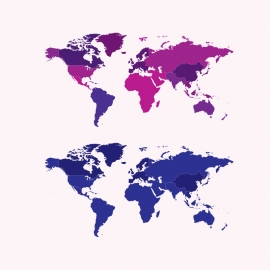 World Map Vector With Different Color