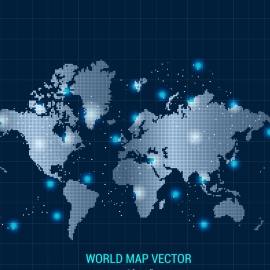World Map With Blue Background