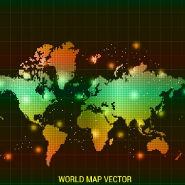 World Map With Gradient Color Light