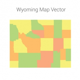 Wyoming Map Colorful Vector Design