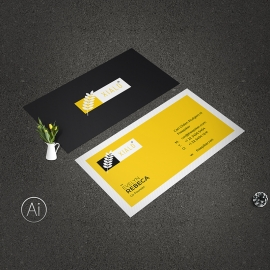 Yellow Accent Minimal Business Card Template