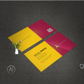 Yellow And Red Clean Business Card
